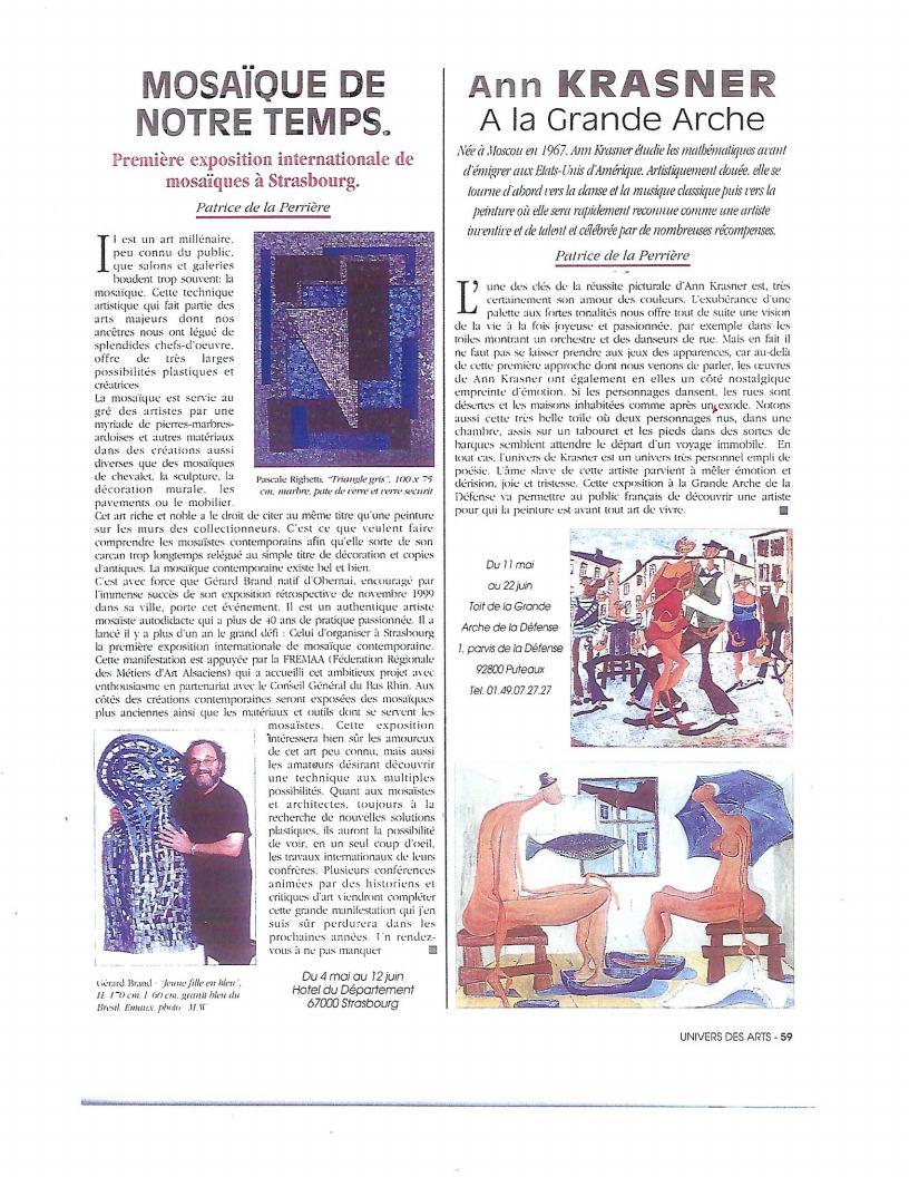Ann Krasner A la Grande Arche by Patrice de la Perriere - Univers Des Artsjpg_Page1